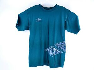VTG Umbro Youth Green Spell Out Off Set Graphic T-Shirt Sz Large 🔥