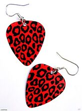 RED LEOPARD PRINT GUITAR PICK EARRINGS! ROCKABILLY PUNK GLAM GOTHIC 80s RETRO