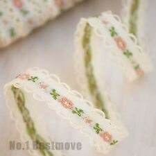 2yd Vintage Flower Embroidered Lace Trim Ribbon Wedding Dress Sewing Craft DIY