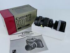 CANON FD 50MM F3.5 FULL 1:1 MACRO PRIME LENS + FD25 TUBE BOXED MINT- FULL FRAME