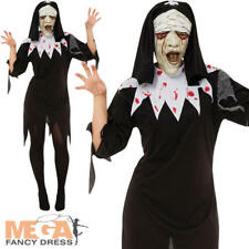 Ladies Zombie Nun Halloween Fancy Dress Womens Adults Costume Outfit + Mask New