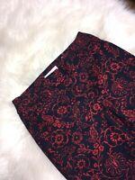 NWT Ann Taylor Loft Navy Blue Red Floral Print The Rivera Pant Capri Size 0