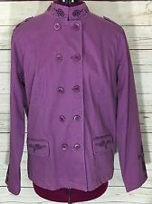 Denim & Co Lavender Purple Spring Jacket Coat Floral Embroidery Size S