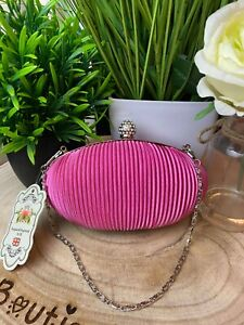 Hot Pink Ruched Crystal Satin Evening Clutch Ladies Occasion Bags & Purses