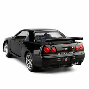 1:36 Nissan Skyline GTR R34 Model Car Diecast Toy Vehicle Kids Black Pull Back