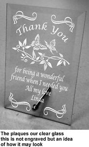 Plain / Engraved Personalised Glass Plaque Thank You Gift, appreciation for help