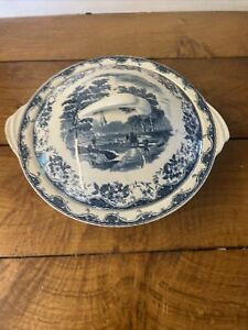 Beautiful Pair Vintage Royal Tudor Blue And White Tureen Casserole Serving Dish