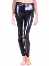 Black High Waist Wet Look PU Leather Ankle Length Legging Skinny Slim