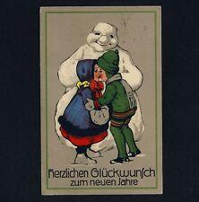 Neujahr SCHNEEMANN / SNOWMAN / BONHOMME DE NEIGE New Year * Vintage 1910s PC
