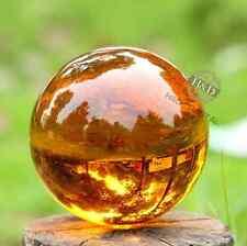 Asian Amber Magic Crystal Cut Glass Healing Ball Sphere + Stand 40mm.