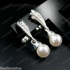 Clip SU ORECCHINI comode pearl&crystal Strass Argento Ali Elegante