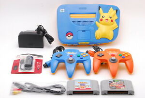 [Mint] Nintendo 64 Pikachu Version Blue/Yellow Console,2 Controller And 2 Soft