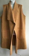 Italian Lagenlook Long Gilet Pocket Warm Soft Waistcoat Jacket One Size12-18 Tan