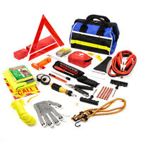 97PC Roadside Assistance Auto Emergency First Aid Kit Tool Cables Tire Repair