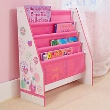 FLOWERS AND BIRDS SLING BOOKCASE PINK WHITE CHILDRENS BEDROOM STORAGE NEW