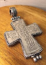 AWESOME VINTAGE KONSTANTINO CROSS .925 STERLING SILVER HINGED BAIL HUGE RARE