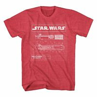 Star Wars Lightsaber Schematics Red Heather Men's T-Shirt New