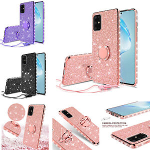 For Samsung Galaxy A01/A11/A51/A71/Note 20 Glitter Diamond Ring Stand Case Cover