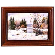 Finift Enamel Painting Wall Art Hand Painted Russian Winter Forest Lake River