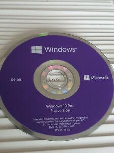 Microsoft Windows 10 Professional 64bit install DISC only, MS Originals. NO COA