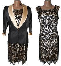 Completo Abito Giacca tailleur donna vestito 52 56 bottone gioiello nero  pizzo r 3e7438f57b8