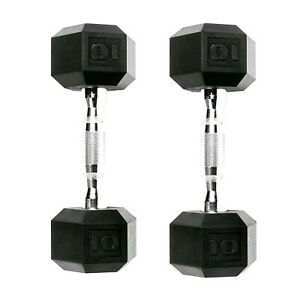 CAP Dumbbells 10 lb Coated Hex Set, Pair of 2 Weight Training (20 lbs Total) NEW