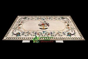 """96""""x48""""Beige Marble Inlay Table Top with GemsStone Stones Art Dinning Table home"""