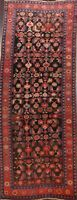 Vintage Geometric Malayer Traditional Runner Rug Vegetable Dye Hand-knotted 5x12