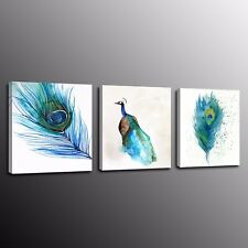 FRAMED Blue Peacock Feather Modern Wall Art Painting Canvas Prints Picture 3pcs