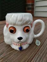 RARE !!Dept 56 Department Woof Club poodle White Dog Ceramic Mug 18 Ounces 18 Oz