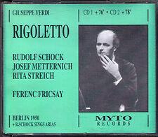 VERDI RIGOLETTO Rudolf Schock Rita Streich Josef Metternich FRICSAY '50 MYTO 2CD