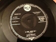 Elvis Presley . A FOOL SUCH AS I / I NEED YOUR LOVE TONIGHT . 1959 TRI CENTRE