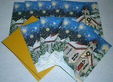 NEW! LOT of 9 LANG Christmas Cards ~ DIMENSIONAL Card DESIGN ~ SNOWY STEEPLE