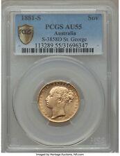 1881 S GOLD SOVEREIGN COIN PCGS AU55 Sydney Australia Sov S-3858D St George