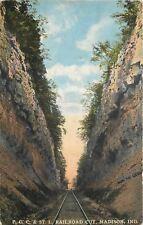 Madison Indiana~PCC & ST L Railroad Cut~Tracks Thru Rock~1910 Postcard