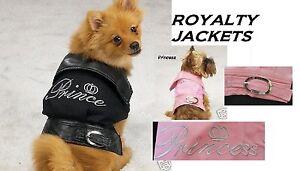 Royalty Dog Coat Jacket Embroidered PRINCE or PRINCESS-Denim Leather Collar&Belt