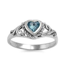 .925 Sterling Silver Ring size 2 CZ Heart Baby Kids Aquamarine Midi Ladies New
