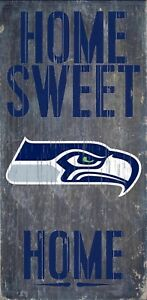 """Seattle Seahawks Home Sweet Home Wood Sign - NEW 6"""" x 12"""" Wall Decoration Gift"""