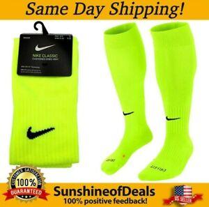 Nike Classic Cushioned Knee High Soccer Sock Neon Volt SX5728-702 (MEDIUM/LARGE)