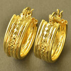 Clip On Earring Yellow Gold Plated Womens small round Hoop Earrings vintage