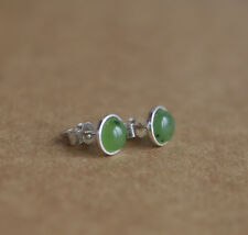 925 Sterling silver stud earrings with natural Jade Nephrite gemstones