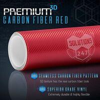 "3D Red Carbon Fiber Matte Vinyl Wrap Bubble Free Air Release 12"" x 60"" In Roll"