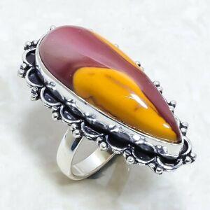 Mookaite Gemstone Handmade Ethnic Silver Jewelry Ring Size 8.5 RLG7411
