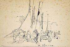Jules PONCEAU 1881-1961 Dessin Encre 1909 Port d'Honfleur Déchargement