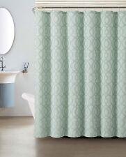 Blue Silver Crushed Jacquard Shower Curtain: Macon Geometric Design