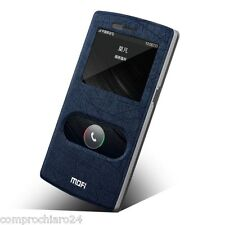 étui Bleu Simili cuir S-View Double Fenêtre pour OnePlus One A0001 -