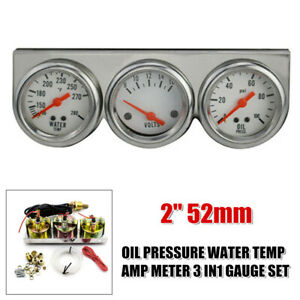 "2"" 52mm Engine Oil Pressure Water Temp Amp Meter 3 in 1 Gauge Set Chrome Panel"