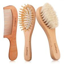 3 Pcs New Wooden Baby Bristles Goat Hair Brush Comb Gifts for Newborns Toddlers