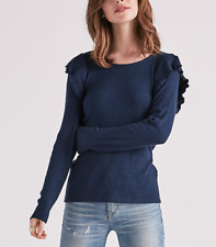 LUCKY BRAND NAVY BLUE LONG  SLEEVE RIBBED RUFFLE SOFT TOP SWEATER PLUS Sz 3X