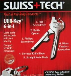 1X Swiss Tech 6 In 1 Utili-Key Tool Keyring Keychain Screwdrive Pocket New